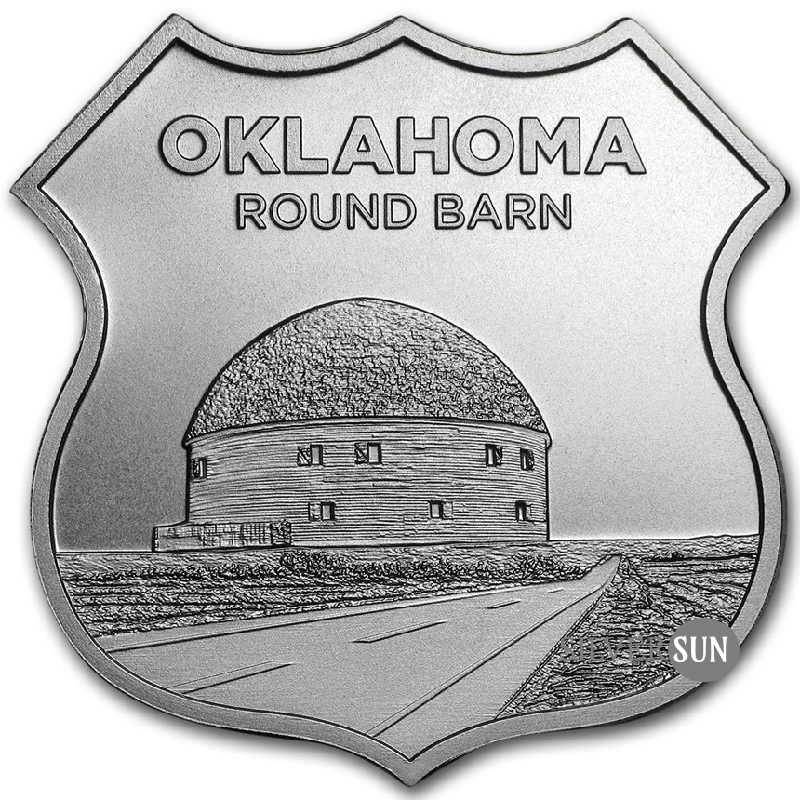 Icons of Route 66 Shield - Oklahoma Round Barn 1oz