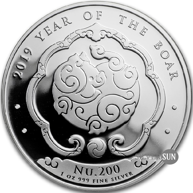 Bhutan - Lunar - Year of the Boar 2019 (Rok diviaka) 1oz
