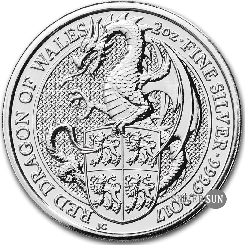 The Queen´s Beasts - Red Dragon of Wales 2017 (Červený drak) 2oz