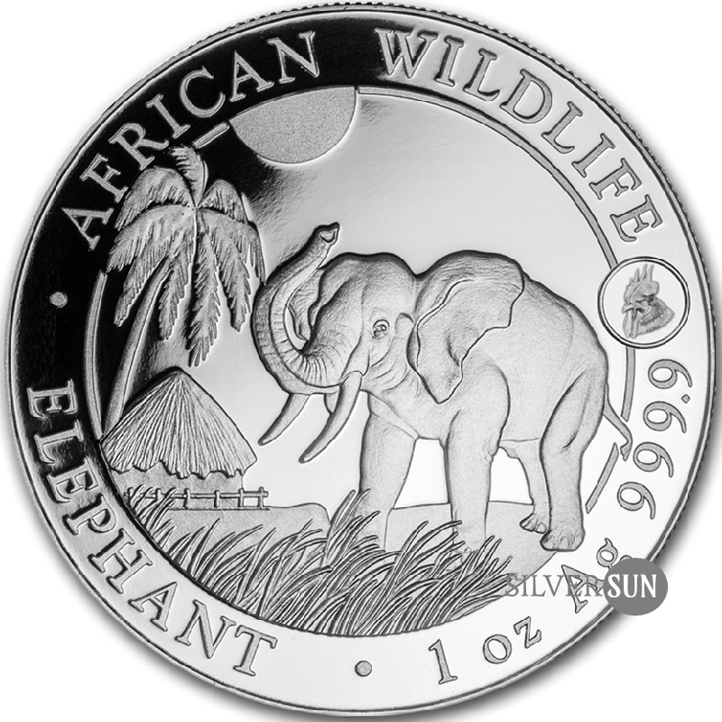 Somali Republic - African Wildlife Elephant 2017 Privy Rooster 1oz