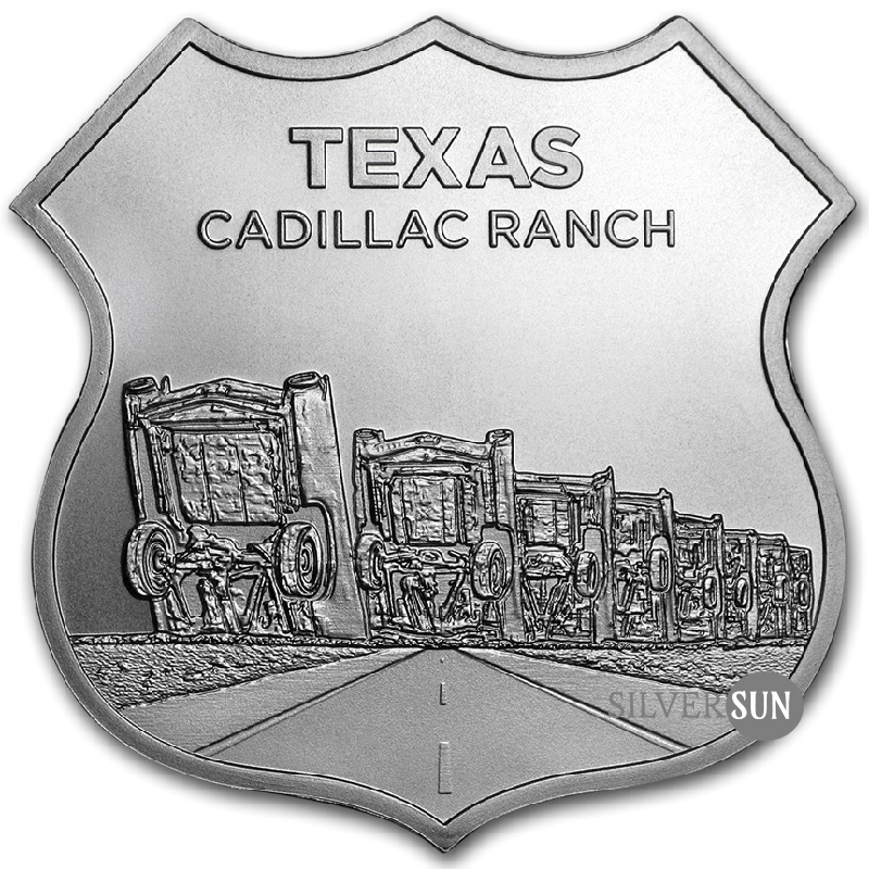 Icons of Route 66 Shield - Texas Cadillac Ranch 1oz