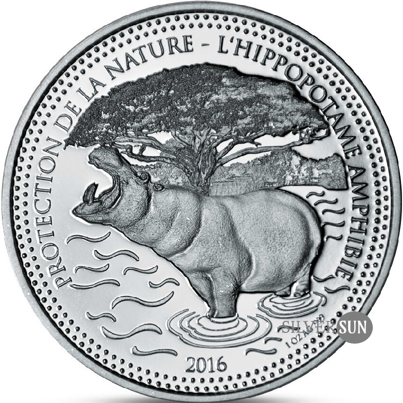 Republic of Chad - Protect the Nature - Hippo 2016 1oz