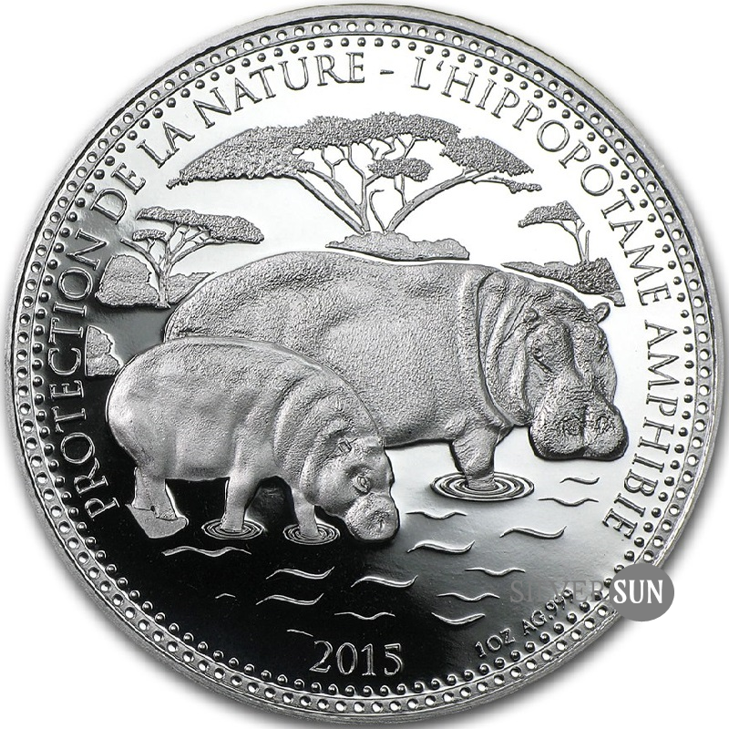 Republic of Chad - Protect the Nature - Hippo 2015 1oz