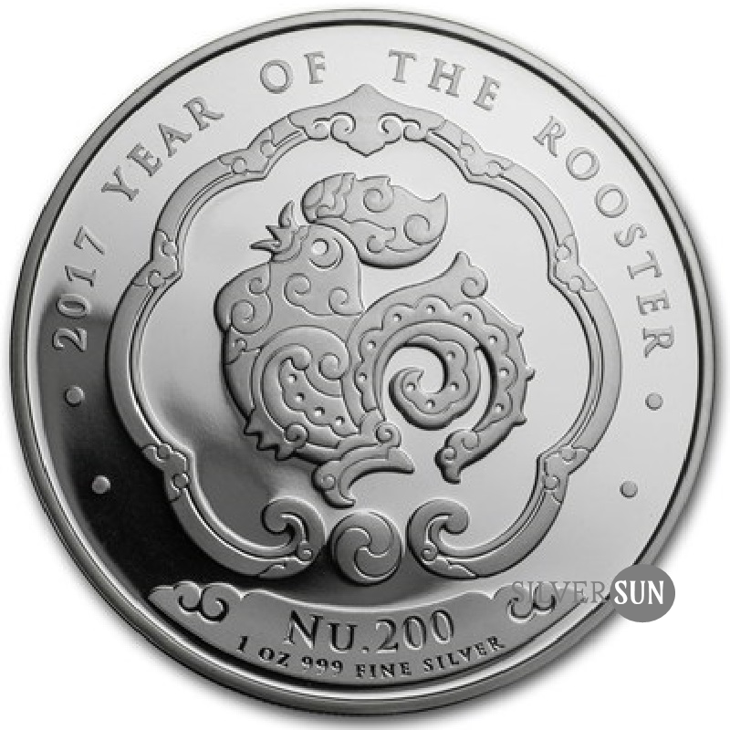 Bhutan - Lunar - Year of the Rooster 2017 (Rok kohúta) 1oz