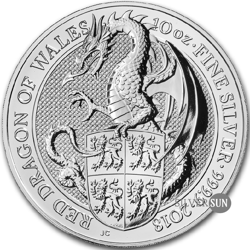 The Queen´s Beasts - Red Dragon of Wales 2018 ( Červený drak) 10oz