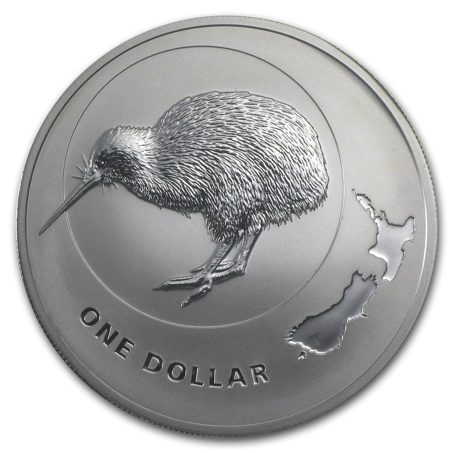 Kiwi - New Zealand kiwi and stylised map 2009 1oz