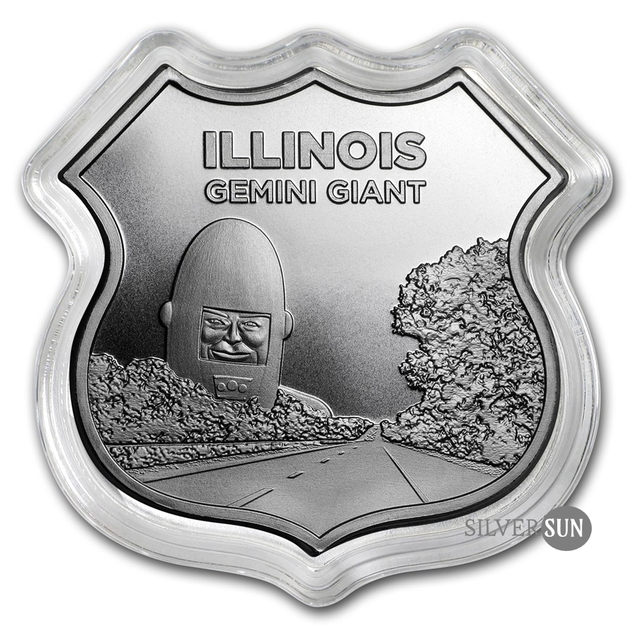 Icons of Route 66 Shield - Illinois Gemini Giant 1oz