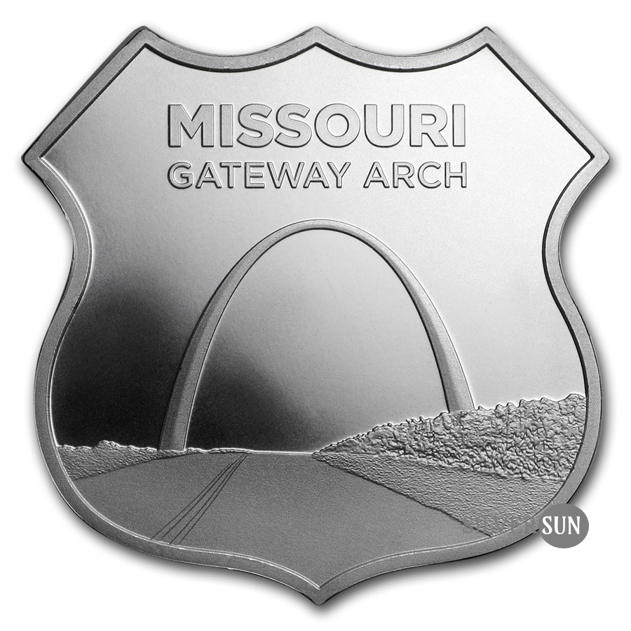 Icons of Route 66 Shield - Missoury Getaway Arch 1oz