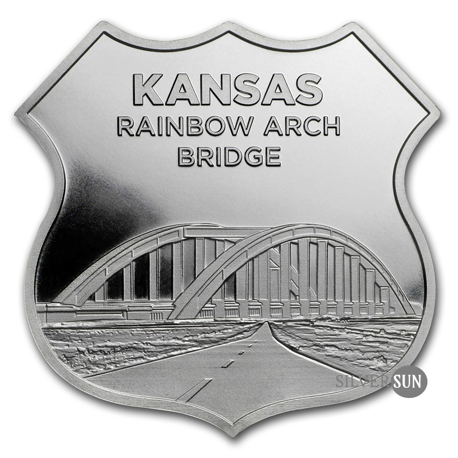 Icons of Route 66 Shield - Kansas Rainbow Bridge 1oz